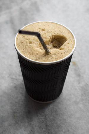 fredo: Refreshing cold frappe coffee, close up photo Archivio Fotografico