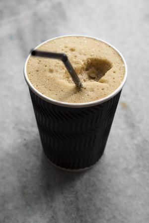 fredo: Refreshing cold frappe coffee, close up photo Archivio Fotografico