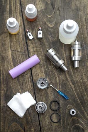 atomiser: Advanced vaping device, e-cigarette on the  table Stock Photo