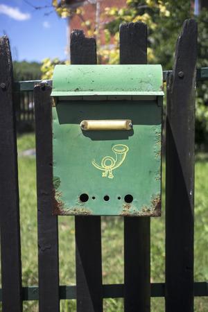 通信: Colorful Distressed Rural Mailbox, close up 写真素材