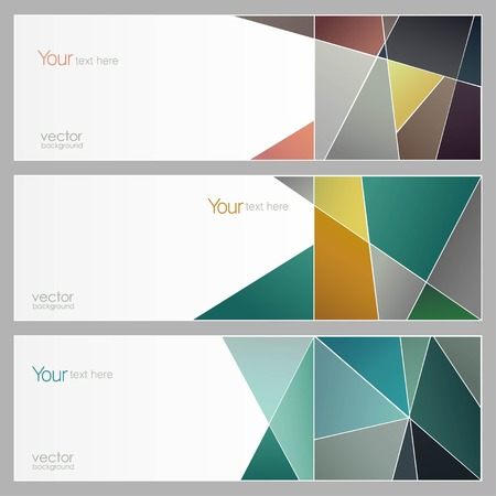 vector Set of three banners, abstract geometry