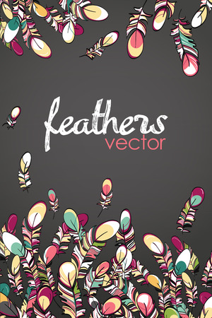 Flying feathers card vector illustration with dark slate gray background