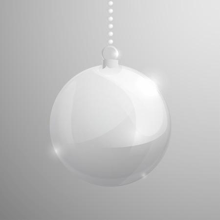 christmass: Transparent shining glass christmass ball with snowflake