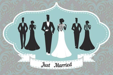 Wedding Set card - Just Married Illustration