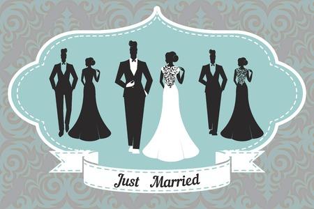 just: Wedding Set card - Just Married Illustration