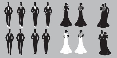 Wedding Set card - Just Married Illustration