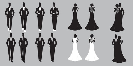 Wedding Set Karte - Just Married Standard-Bild - 37154238