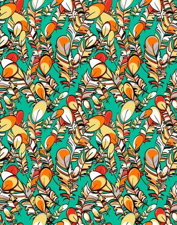 willekeurig: Vector vliegende gekleurde veren in willekeurige composities naadloos patroon
