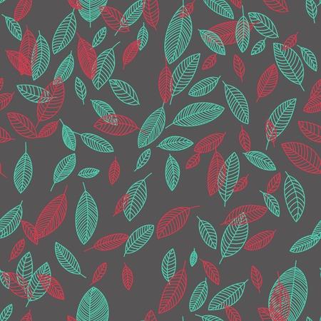 arbitrario: Vector de vuelo de color las hojas en composiciones arbitrarias Patrón sin fisuras