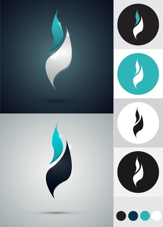 and turquoise: logos design - Fire in circle. Blue white and black colors