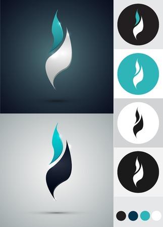 azul turqueza: logotipos diseño - Fuego en círculo. Colores blanco y negro Azul