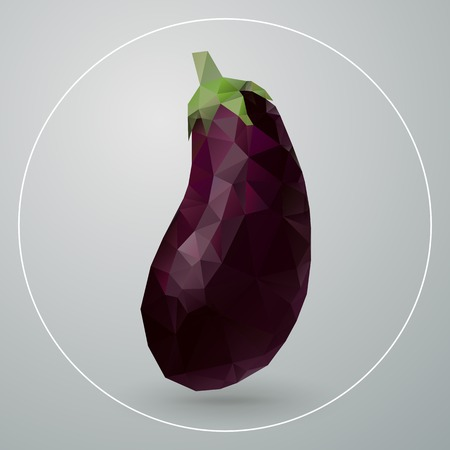 Vector illustration of isolated geometric eggplant composed of triangles Vector