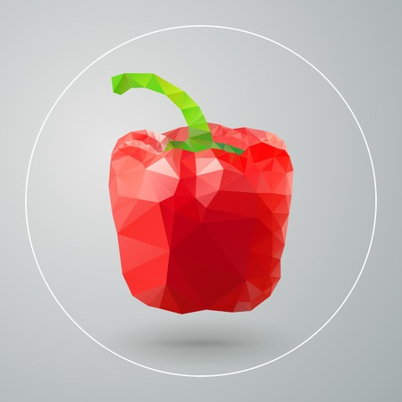 Vector isolated geometric red bell pepper triangles