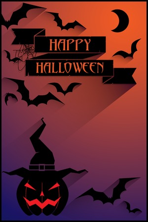 purple abstract background: vector halloween poster with pumpkin