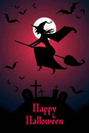 broomstick: vector halloween poster with flying witch on a broomstick
