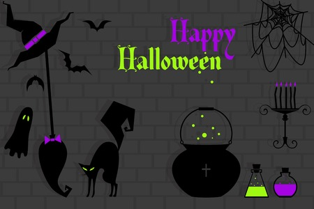 vector set with a Isolated halloween icon