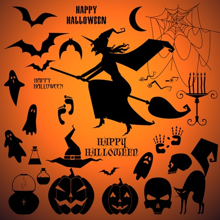 witch on broom: vector set with a Isolated halloween icon