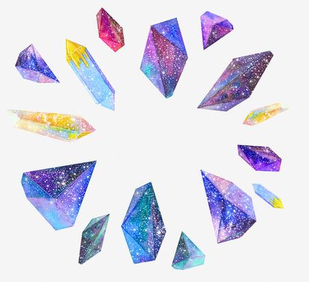 Watercolor kristallen met sterrenhemel
