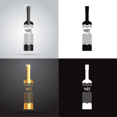 vector logo design - wine bottle Illusztráció