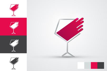 vector logo design - wine glass