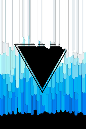 gray strip backdrop: vector abstract background with paint pouring around triangle Illustration