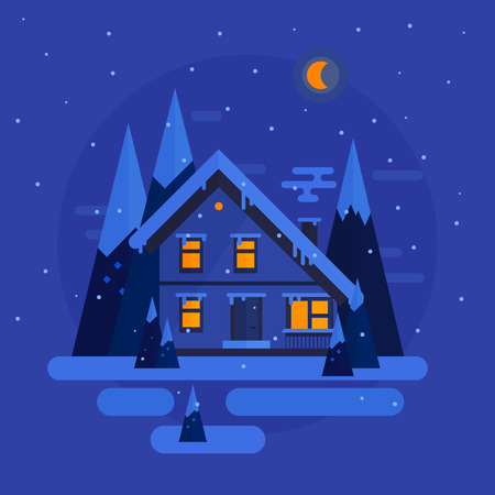 winter night: Vector flat design. Winter night with snow, trees, house. illustration