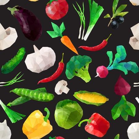 vegan: Vector seamless geometric pattern with polygonal vegetables Illustration