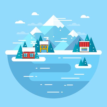 ski resort: Vector winter landscape. Ski resort - flat design.