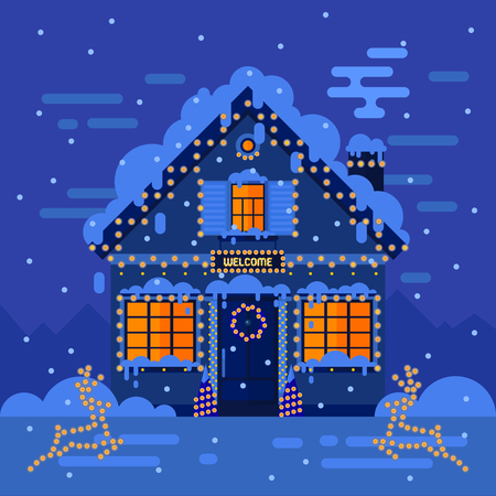 holiday house: Winter night house and landscapes. Stock flat vector illustration