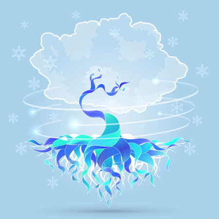 winter tree: Vector background illustration with magic winter tree