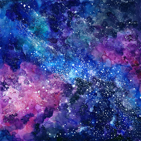 공간 손으로 그린 수채화 배경. 별과 우주 질감입니다. 추상적 인 배경