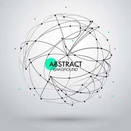 curvas: Fondo abstracto del vector con el punto y la curva construida la esfera de estructura metálica. EPS10