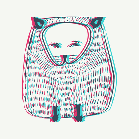 anaglyph: Anaglyph Vector Cat illustration with Anaglyph 3D effect . Animal background