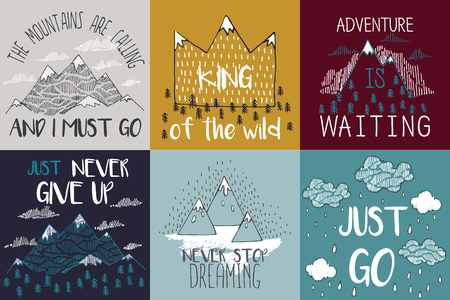 Vector illustration with mountain peaks end graphic elements. The mountains are calling and i must go. Motivational and inspirational typography posters set with quote Vettoriali