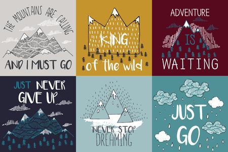 montagna: Illustrazione di vettore con cime finisce elementi grafici. La montagna chiama e devo andare. Poster Typography motivazionali e di ispirazione insieme con citazione