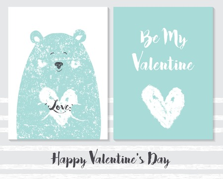 Vector of cute Valentines card templates. Be my Valentine