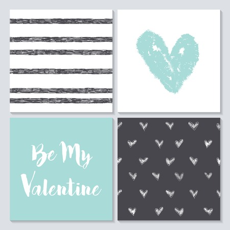 valentines: Vector collection of  4 cute Valentines card templates. Happy Valentines Day