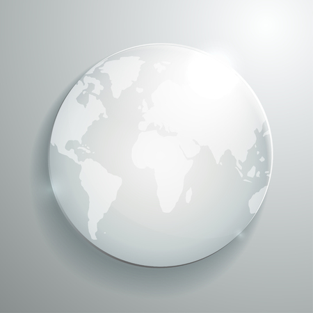 World map on glass globe. Business vector background