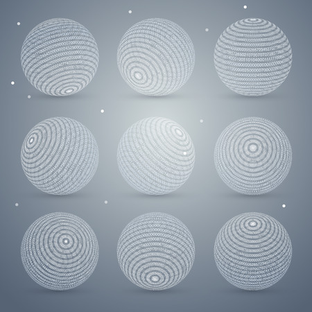 numbers abstract: vector set with spheres and numbers, abstract background
