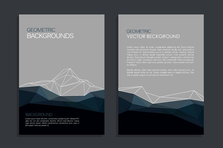 Vector brochure template design with mountain and triangles elements. Brochure design Çizim