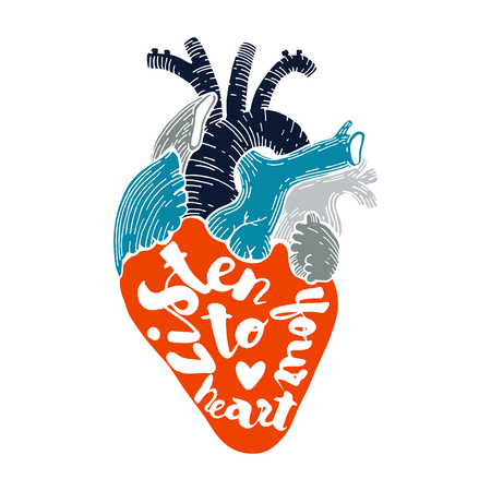 human hand: Vector heart with quote. Listen to your heart