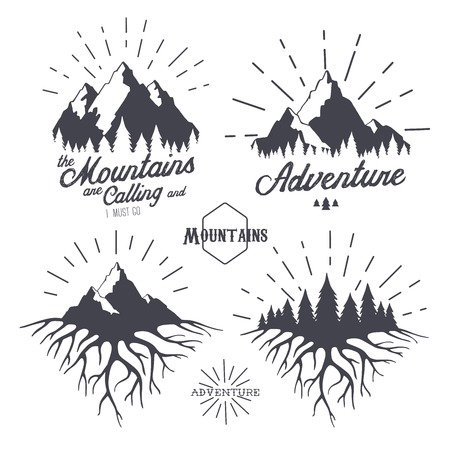 Vector set of vintage travel labels and design elements. Mountains, forest and roots