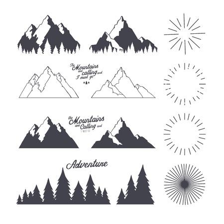 Vector conjunto de elementos de diseño de viajes de la vendimia