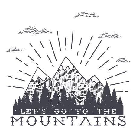 텍스처와 벡터 산입니다. 견적과 함께 일러스트를 스케치하십시오. 산에 가자.