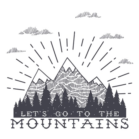 Vector mountain with texture. Sketch illustration with quote. Lets go to the mountains