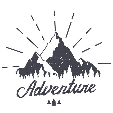 Vector mountain with texture. Sketch illustration with quote. Adventure