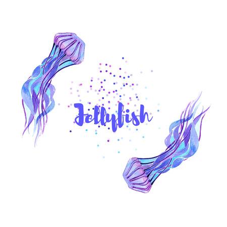 magenta: Jellyfish. Watercolor isolate illustration. Sea life