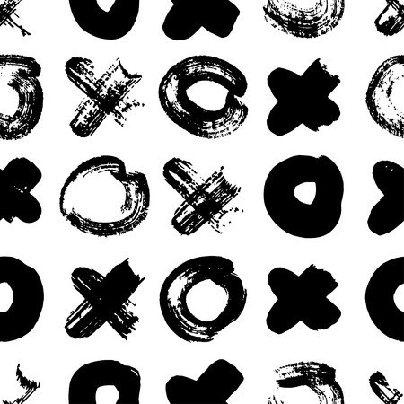 Vector seamless pattern with tic-tac-toe. Hand drawn brush texture