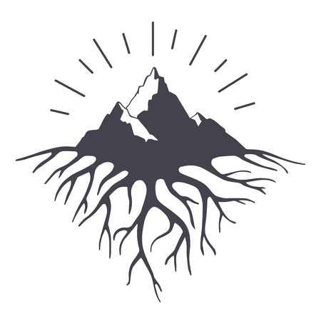 aspirational: illustration with mountains peaks end roots Illustration