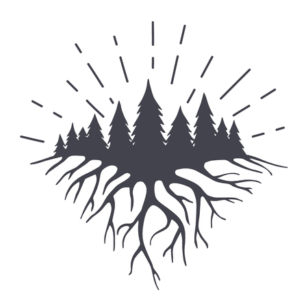 illustration with mountains roots end forest.